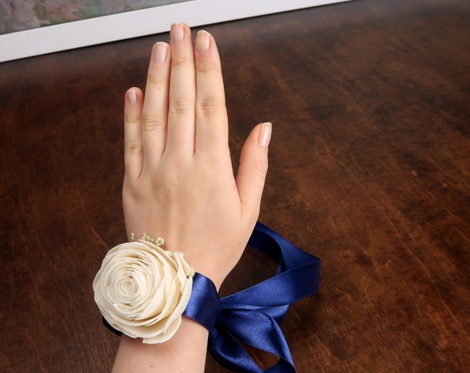 Ivory rose simple wrist corsage, navy ribbon, preserved gypsophila, white sola flowers, bridesmaid mother of bride groom, floral bracelet