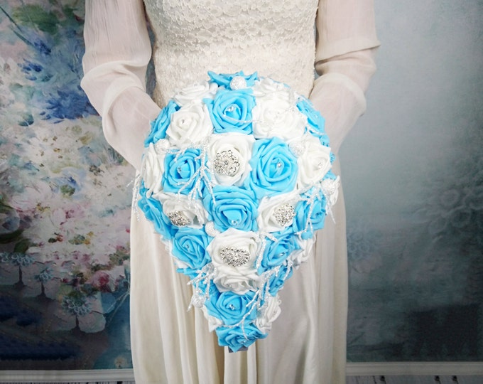 White and blue foam roses sparkle glitter brooches silver frozen flowers wedding BOUQUET satin winter wonderland christmas