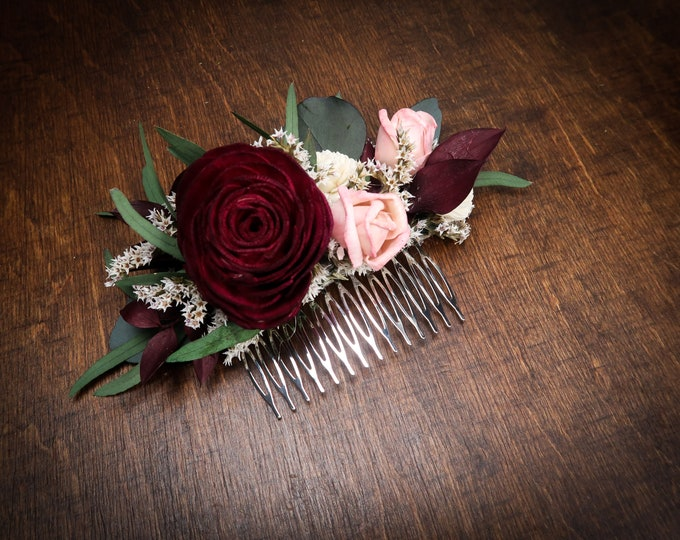 Deep red and blush pink rose hair comb green eucalyptus Alternative bride Burgundy rustic southwestern wedding Sola dried Flowers hair piece