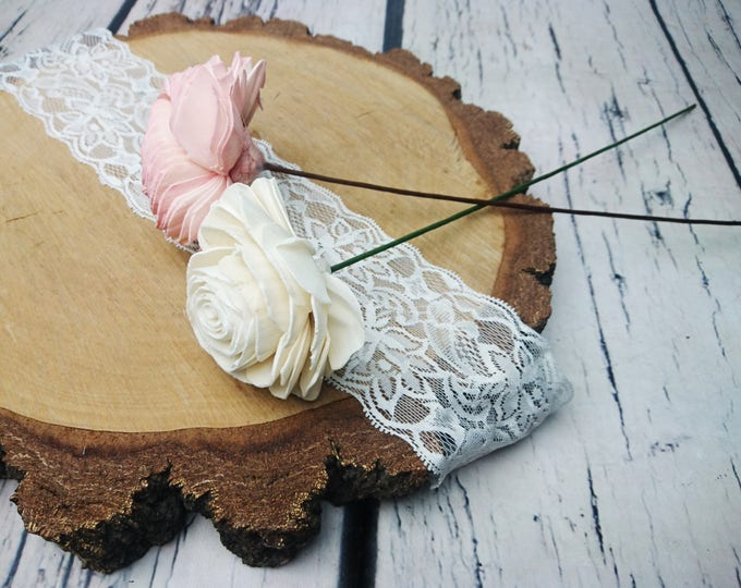 """Floral wire paper covered stems for sola flowers diy wedding bouquet rustic green brown 20pcs 15 3⁄4"""" flowers stem stemmed florist"""