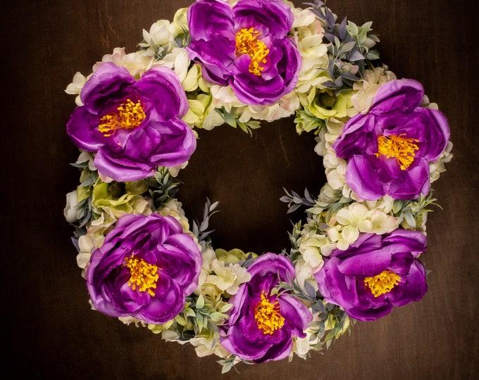 """Green ivory purple front door floral wreath, peonies ranunculus eucalyptus hanging arrangement, gift home decor, big flower halo 17"""""""