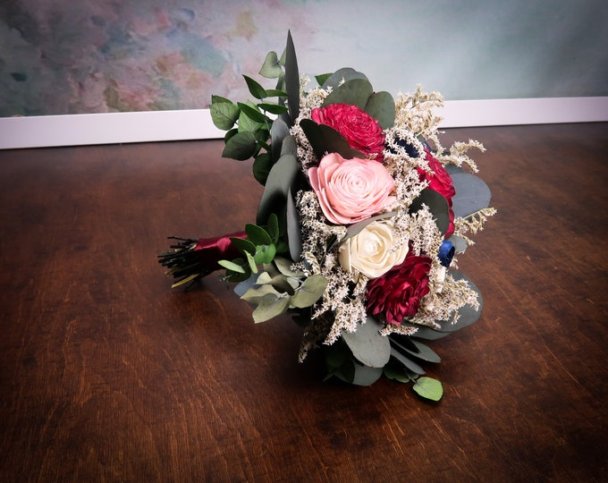 Deep red navy blush pink wedding bouquet with preserved eucalyptus, sola flowers dried German Statice, bridesmaid's bridal bouquet