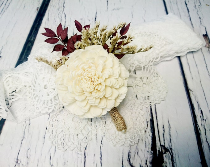 Cream brown burgundy rustic wedding Rustic BOUTONNIERE / CORSAGE groom groomsman, Sola Flower, dried limonium Wedding Flowers custom