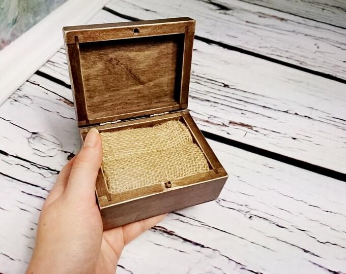 Rustic wedding rings box, engagement pillow rustic looking old vintage rustic wedding burlap simple distressed