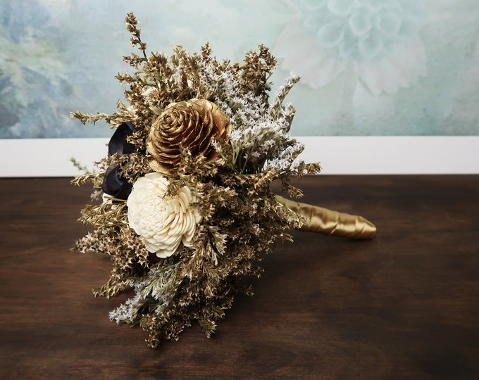Gold ivory black wedding bouquet bridesmaid elegant retro wedding sola flowers cedar rose dried flowers satin ribbon carnival wedding