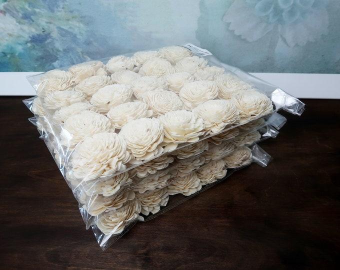 """Wholesale bulk Sola Flowers 100pcs Wedding decor white ivory diy bouquet floral supply natural table decor favor rustic belly 6cm 2 23⁄64"""""""