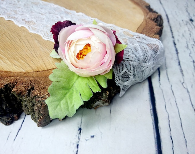 Wedding bridal hair piece burgundy blush pink clip greenery single silk flower peony ranunculus dusty miller simple clip elegant bobby pin