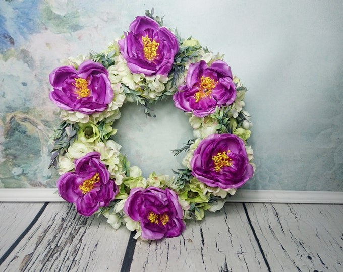 Green ivory purple front door floral wreath, peonies ranunculus eucalyptus hanging arrangement, gift home decor, big flower halo 17""