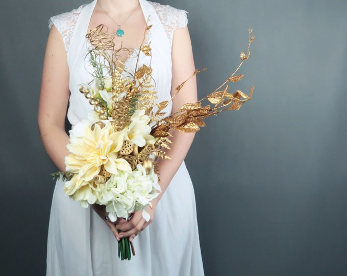 Original asymmetrical silk flowers bouquet peony hydrangea calla lily dahlia freesia gold vintage Gatsby wedding cream rich