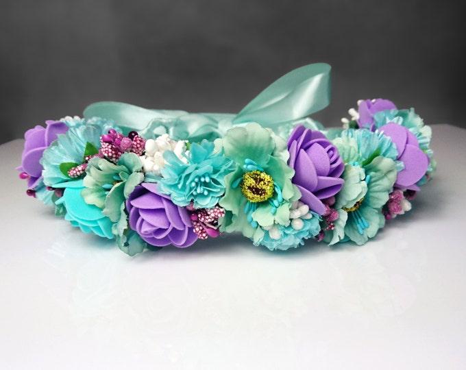 Mint ultraviolet purple floral bridal crown wreath artificial flowergirl  rose cherry fake mint purple pastel wedding satin ribbon
