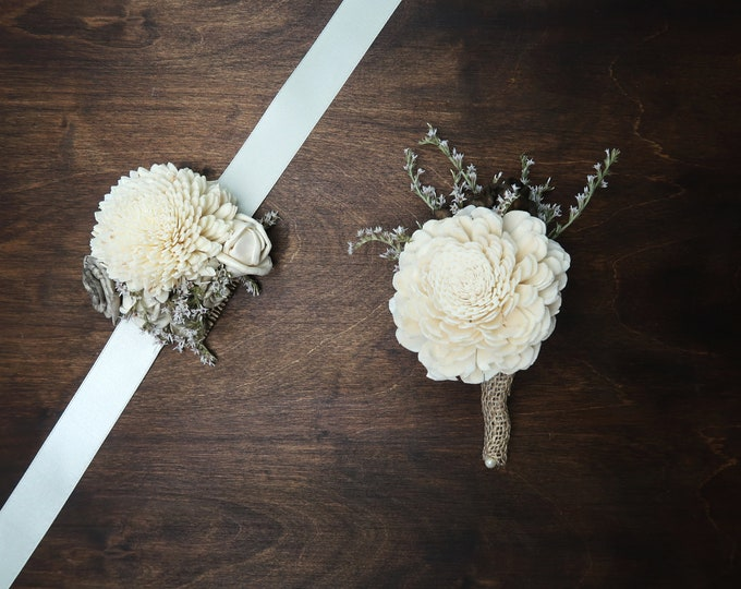 Rustic prom flowers set corsage boutonniere for him Ivory gray brown wrist corsage for her wooden dried sola flowers prom flowers