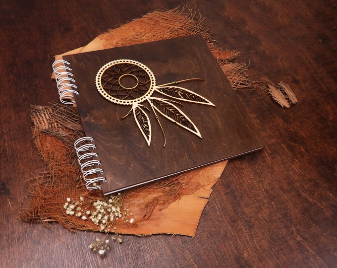 Dream catcher wedding wooden guest book