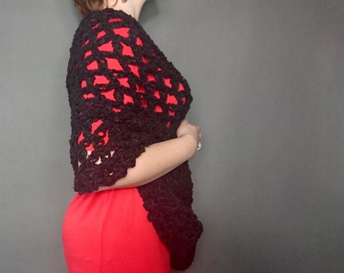 Wedding shawl black mist, bridesmaid shawl crochet shawl scarf,  solomon scarf, lace shawl, shawl wrap, winter wedding mother