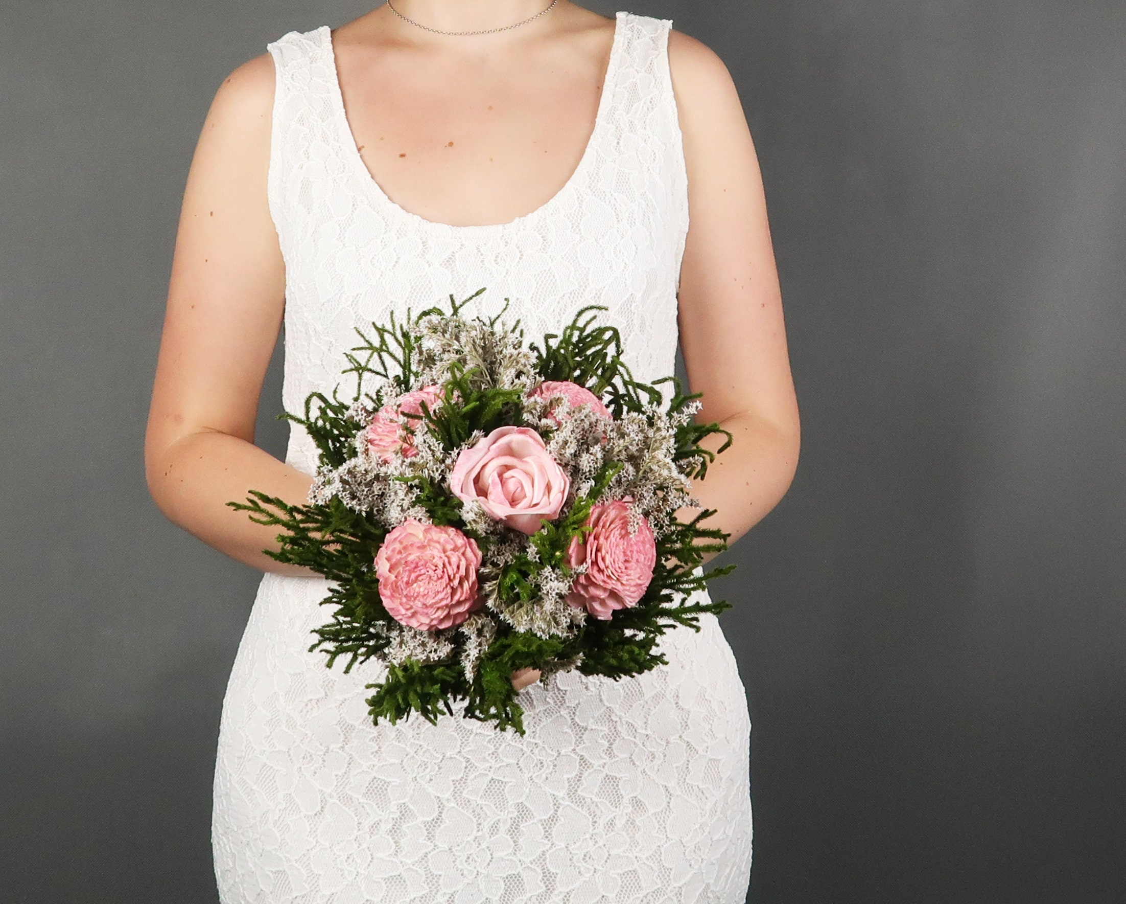 Small Blush Pink Greenery Woodland Wedding Bouquet Dusty Light Pink