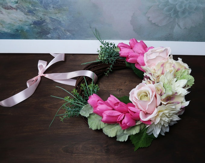 Spring floral wicker wreath pink tulips roses cream hydrangea greenery mothers day gift home decor rustic hanging arrangement