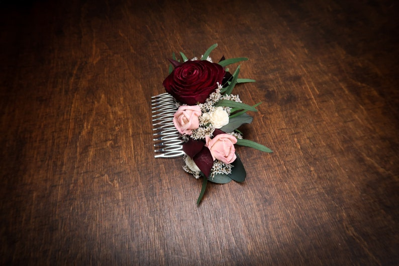 Deep red and blush pink rose hair comb green eucalyptus Alternative bride Burgundy rustic southwestern wedding Sola dried Flowers hair piece