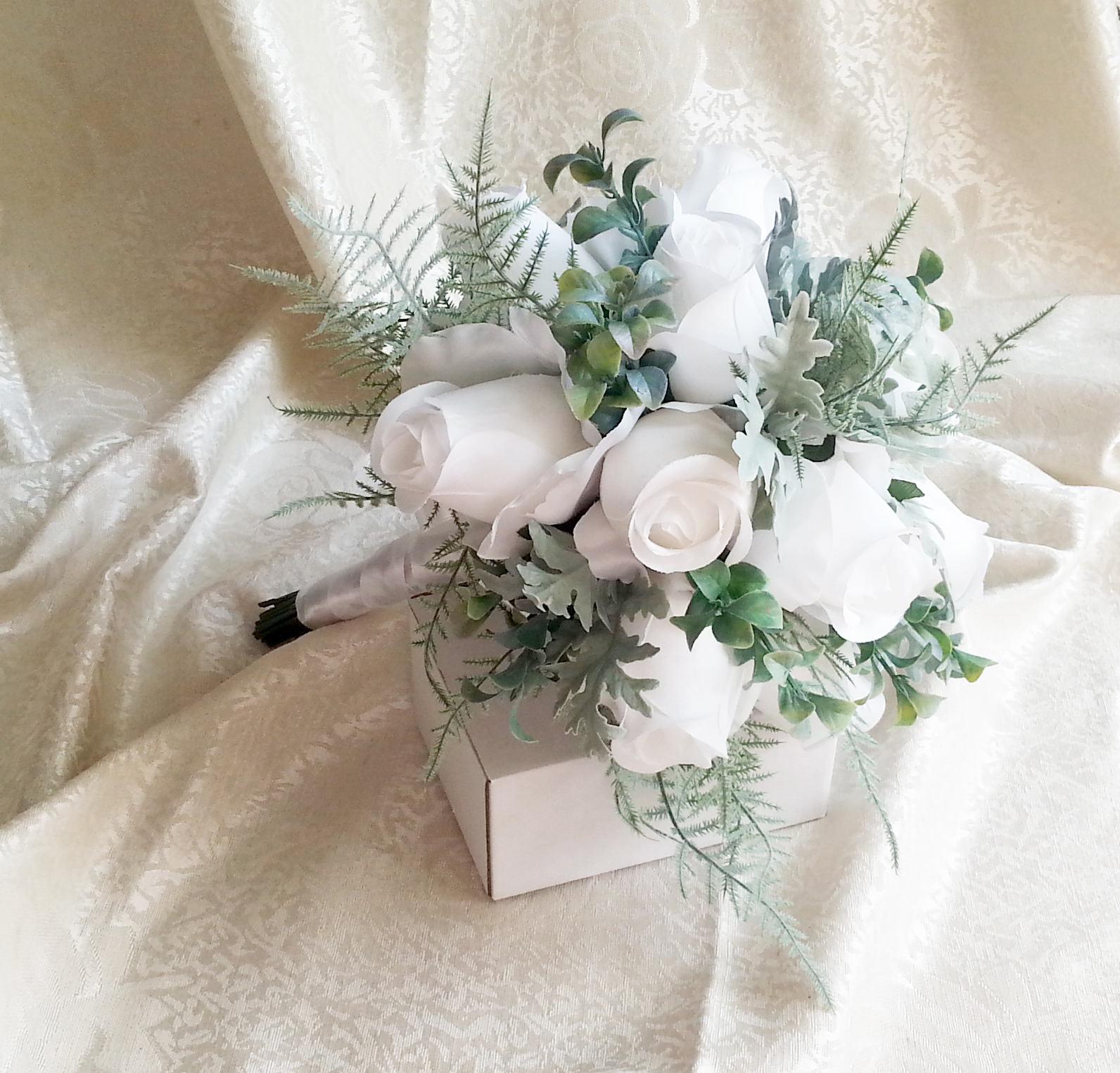 White roses dusty miller wedding bouquet frosted greenery fern white roses dusty miller wedding bouquet frosted greenery fern scotch scotishc silk fabric flowers wedding satin ribbon stem greenery bride izmirmasajfo