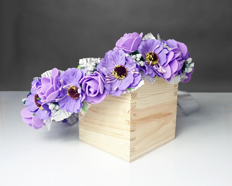 Silver Ultra Violet Purple Flower Crown Wreath Artificial Flower