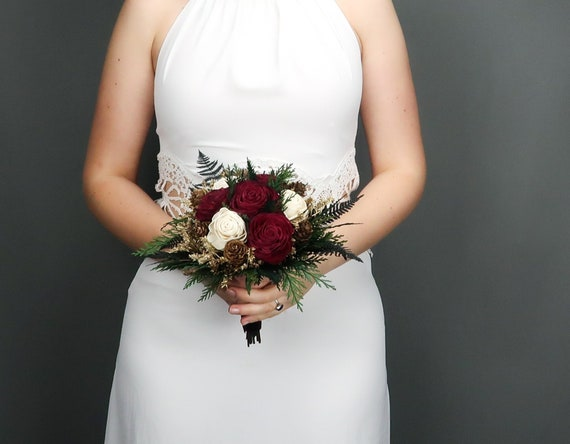 Small Winter Wedding Bridesmaid Bridal Bouquet With Burgundy Etsy