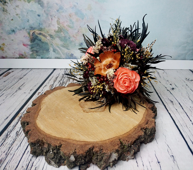 Peach Rose Fall Sola Dried Flowers Wedding Bouquet Chocolate Brown ...