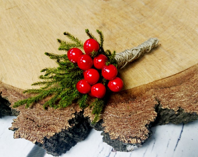 Winter wedding rustic wedding cypress bulap red balls Boutonniere Groom and groomsmen, Wedding Flowers custom