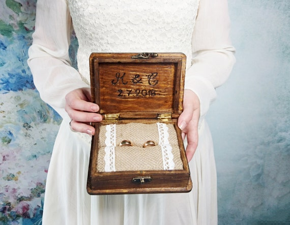 rustic looking old vintage rustic wedding looks like old Patinated heart shaped wedding rings box