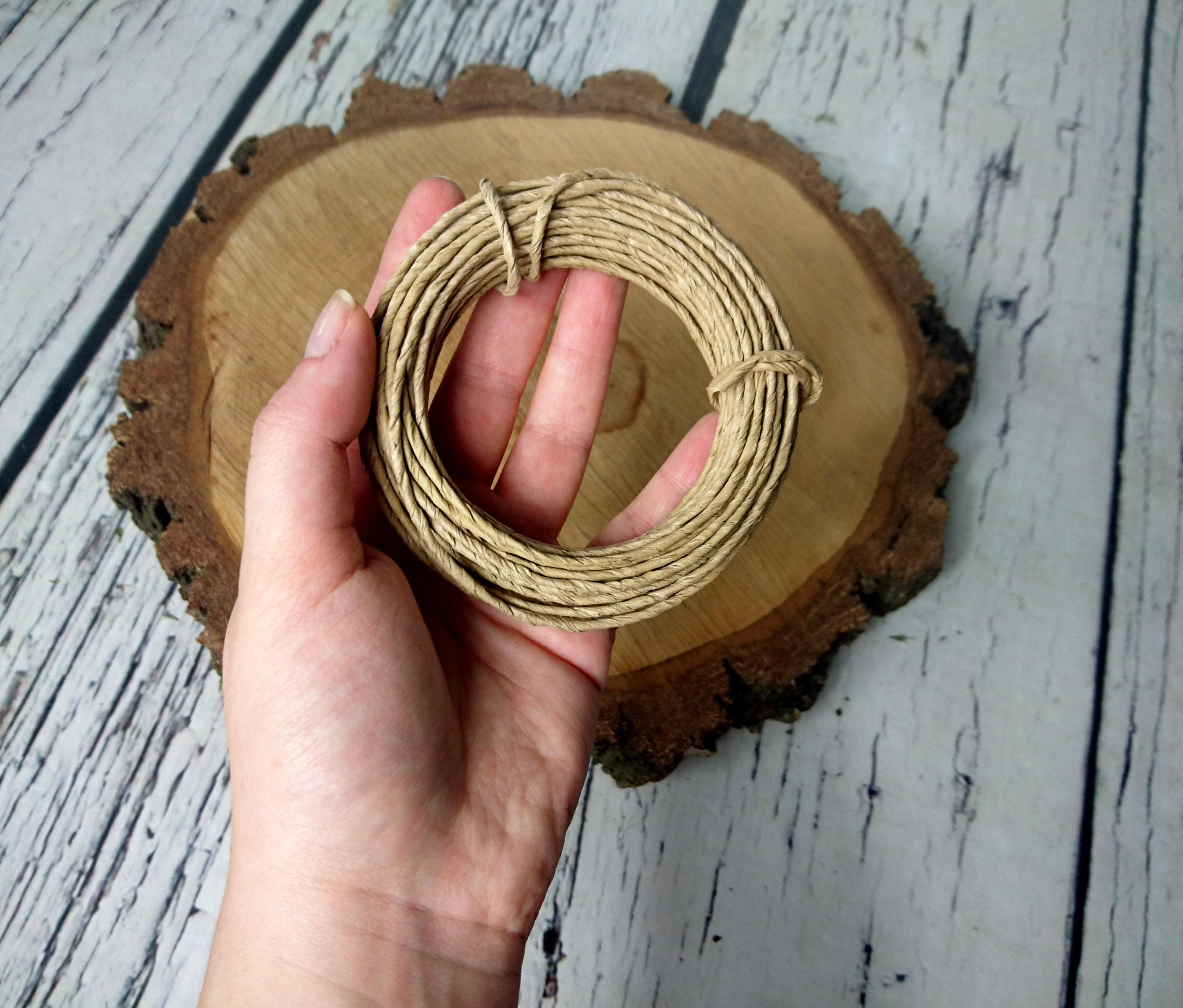 Paper covered rustic wire 10m 109yd natural beige light brown paper covered rustic wire 10m 109yd natural beige light brown flower crown wreath florist supply wedding flowers diy decor bouquet woodland izmirmasajfo