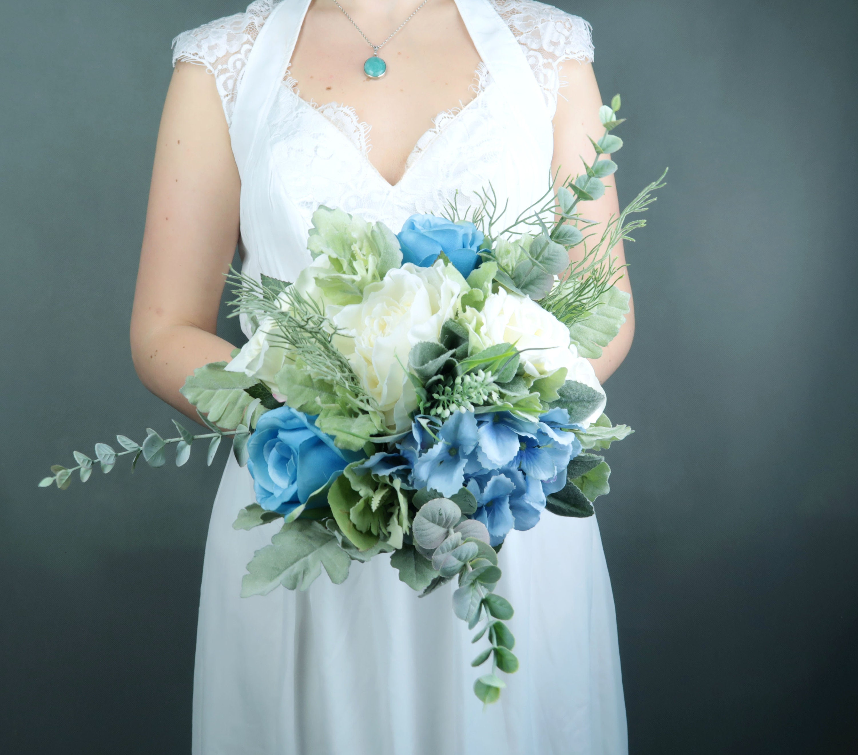 Pastel Blue White Silk Flowers Bouquet With Greenery Best Quality