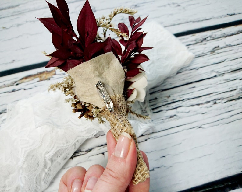 pine cone dried limonium custom Cream brown gold burgundy rustic wedding BOUTONNIERE CORSAGE groom groomsman Sola Flower