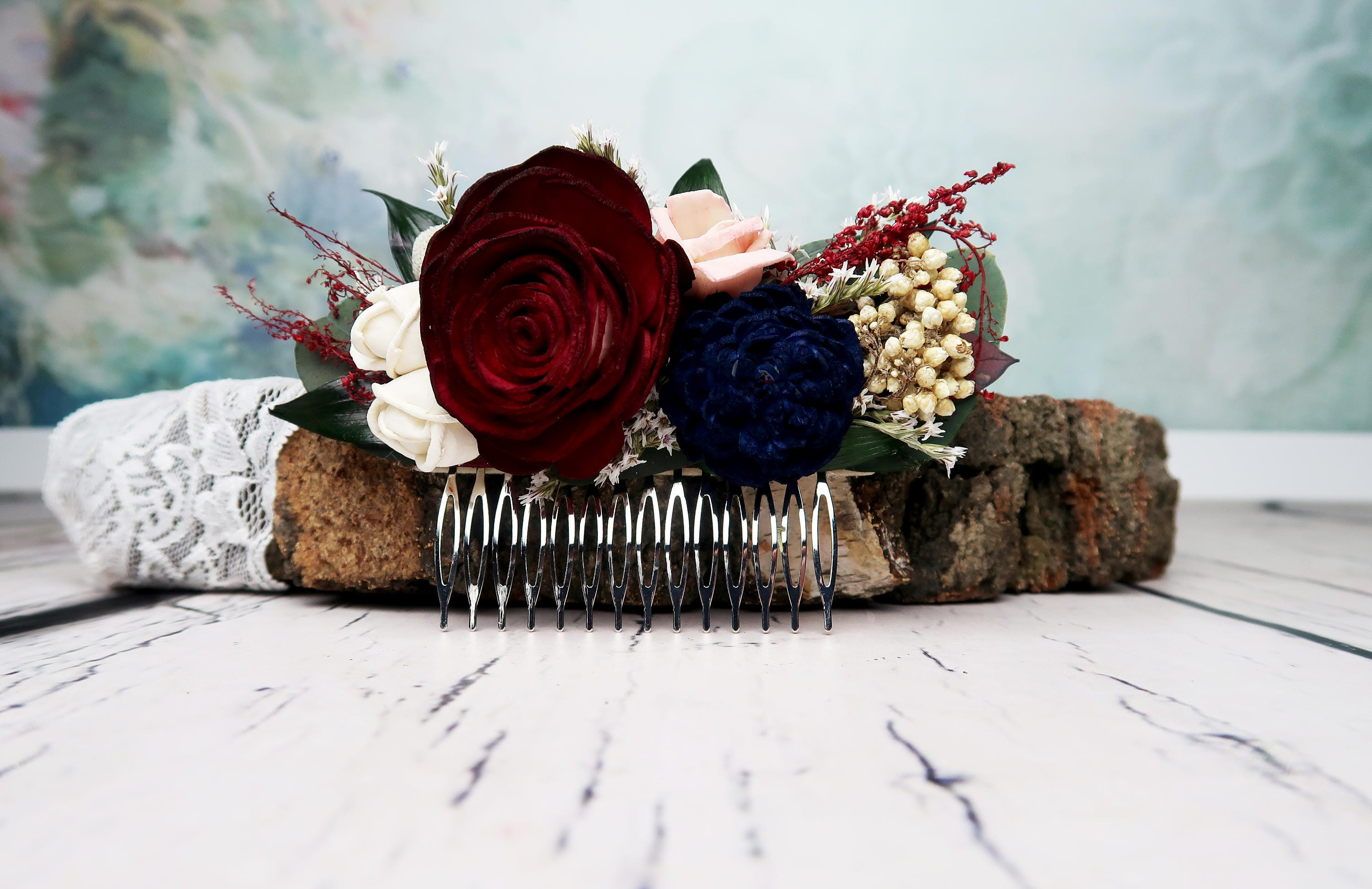 Burgundy rose bridal hair comb blush pink navy blue ivory sola burgundy rose bridal hair comb blush pink navy blue ivory sola flowers preserved eucalyptus ruscus brunia berry dried flowers wedding flower izmirmasajfo