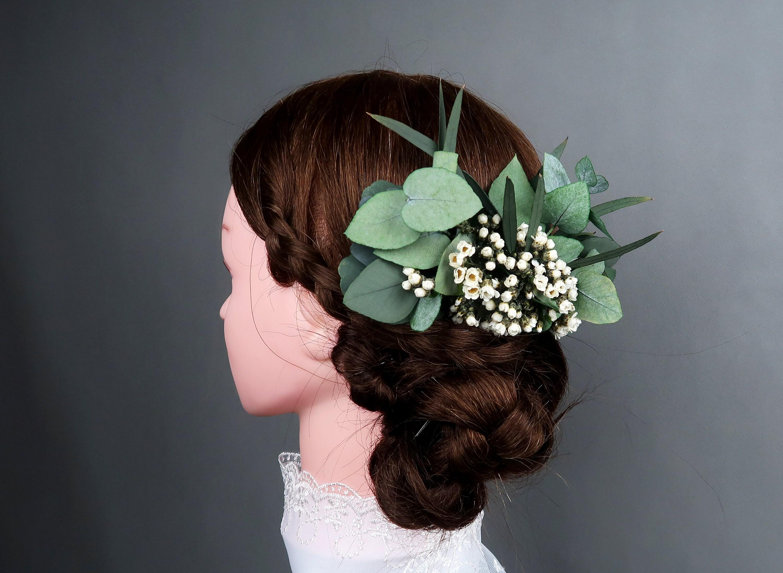 Eucalyptus Greenery Wedding Hair Comb Tiny White Flowers Preserved