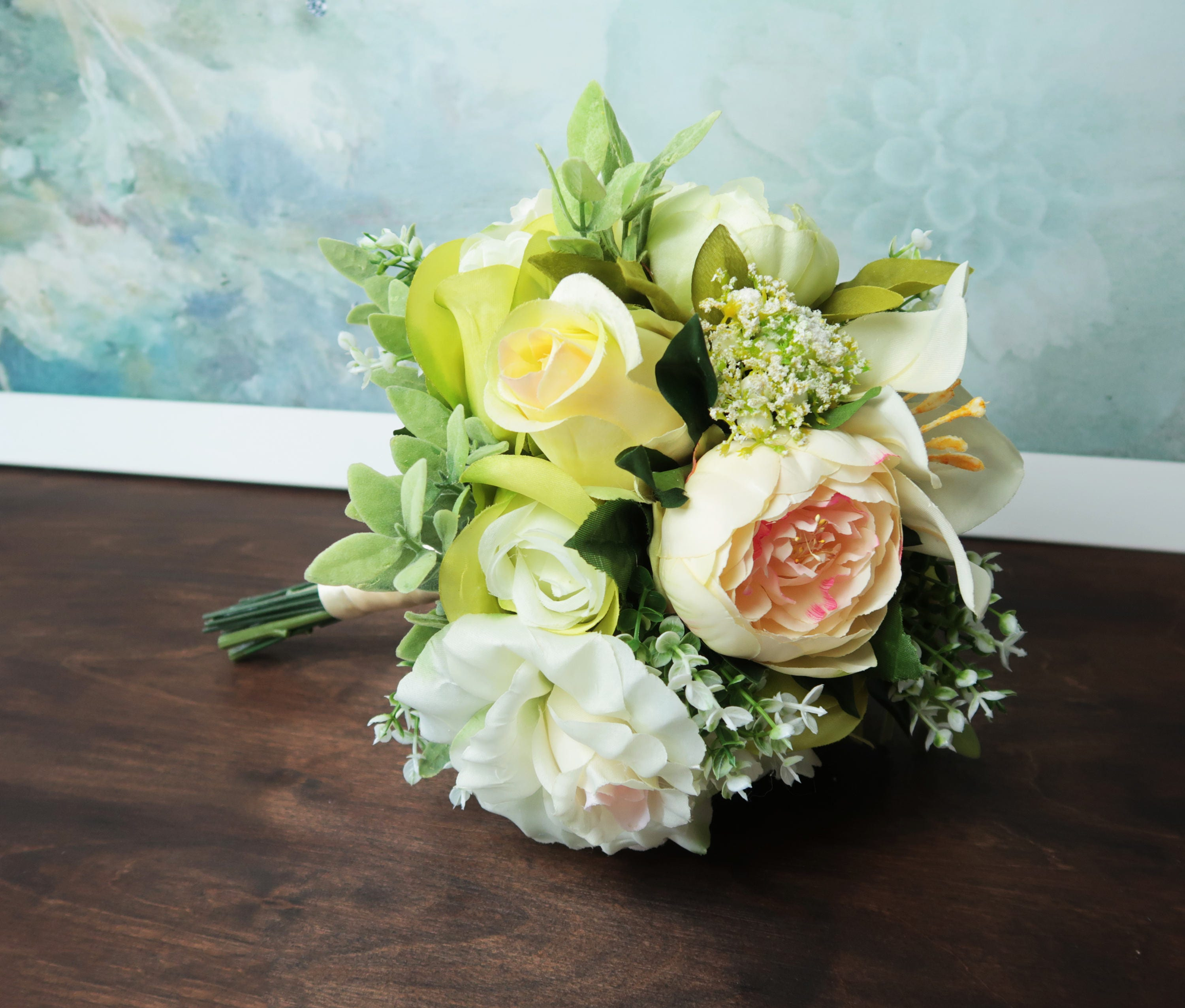 Green Boho Wedding Bouquet Silk Flowers Peonies Roses Lily Greenery