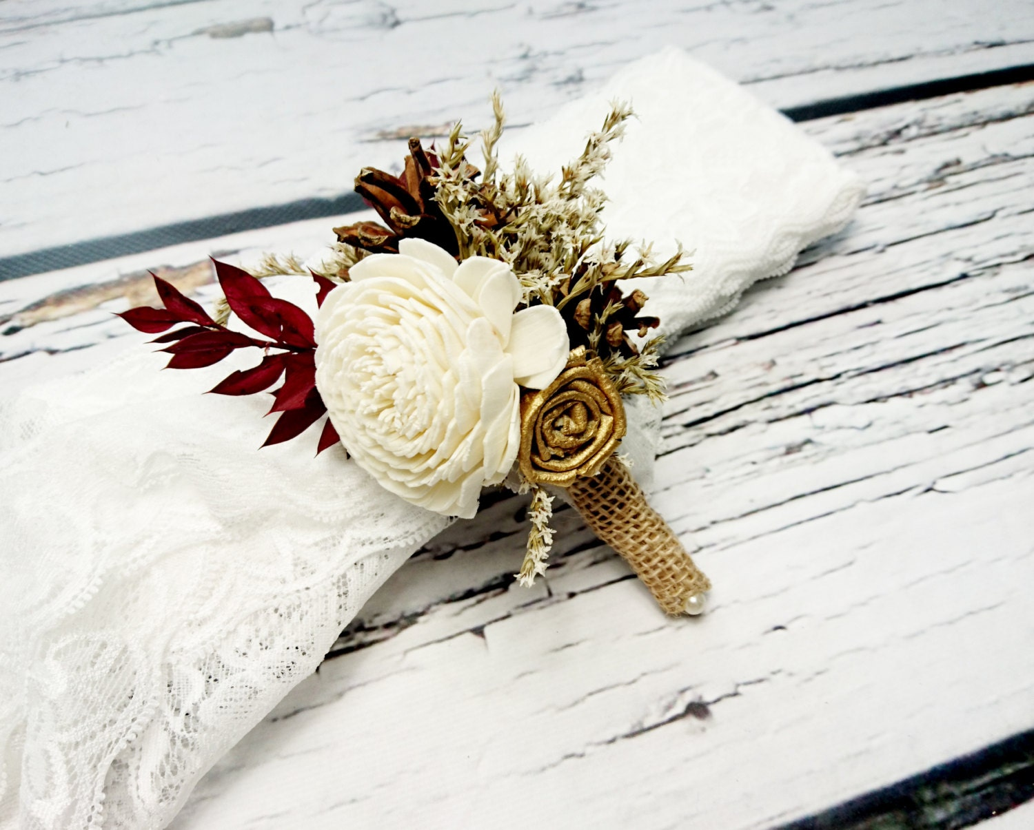 Ivory, brown, gold and burgundy rustic wedding boutonniere with pine ...
