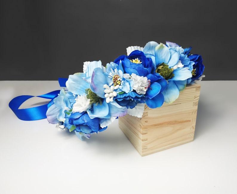 Couronne De Fleur Bleue Fleurs Artificielles Guirlande Etsy