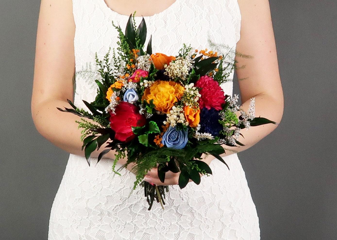 Colorful Vibrant Wild Wedding Bouquet Sola Flowers In Yellow Orange