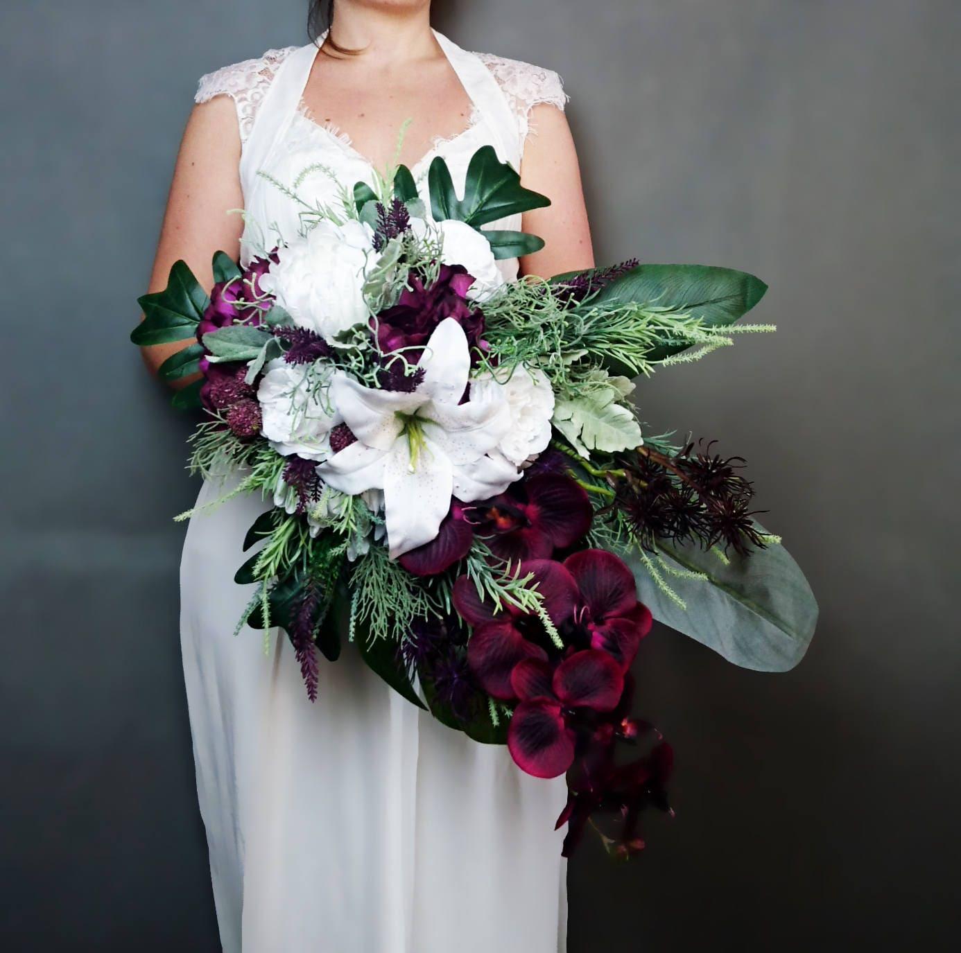 Plum Purple White Tropical Flowers Winter Wedding Bridal Bouquet