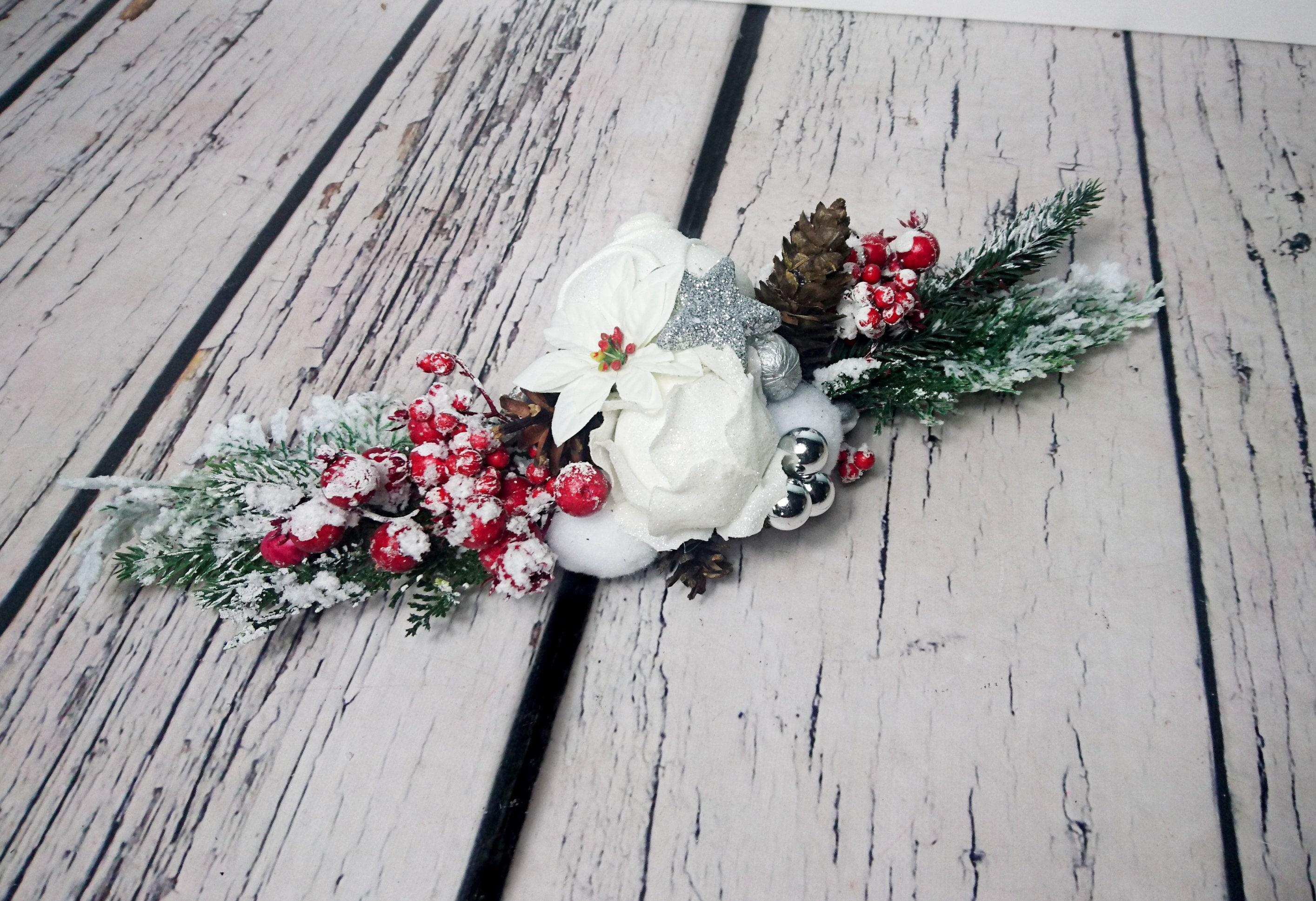 Snowy fir Christmas wedding centerpiece table decor, red berries ...