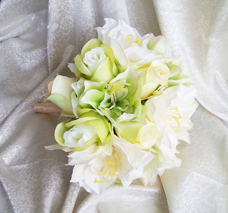 Green silk flowers wedding bouquet greenery lime green cream roses green silk flowers wedding bouquet greenery lime green cream roses lily satin ribbon bridal bridesmaids cheap izmirmasajfo