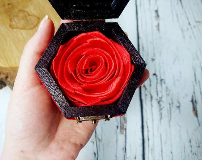 Alternative engagement ring box,  black red gothic lace satin ribbon rose flower heart spider small box