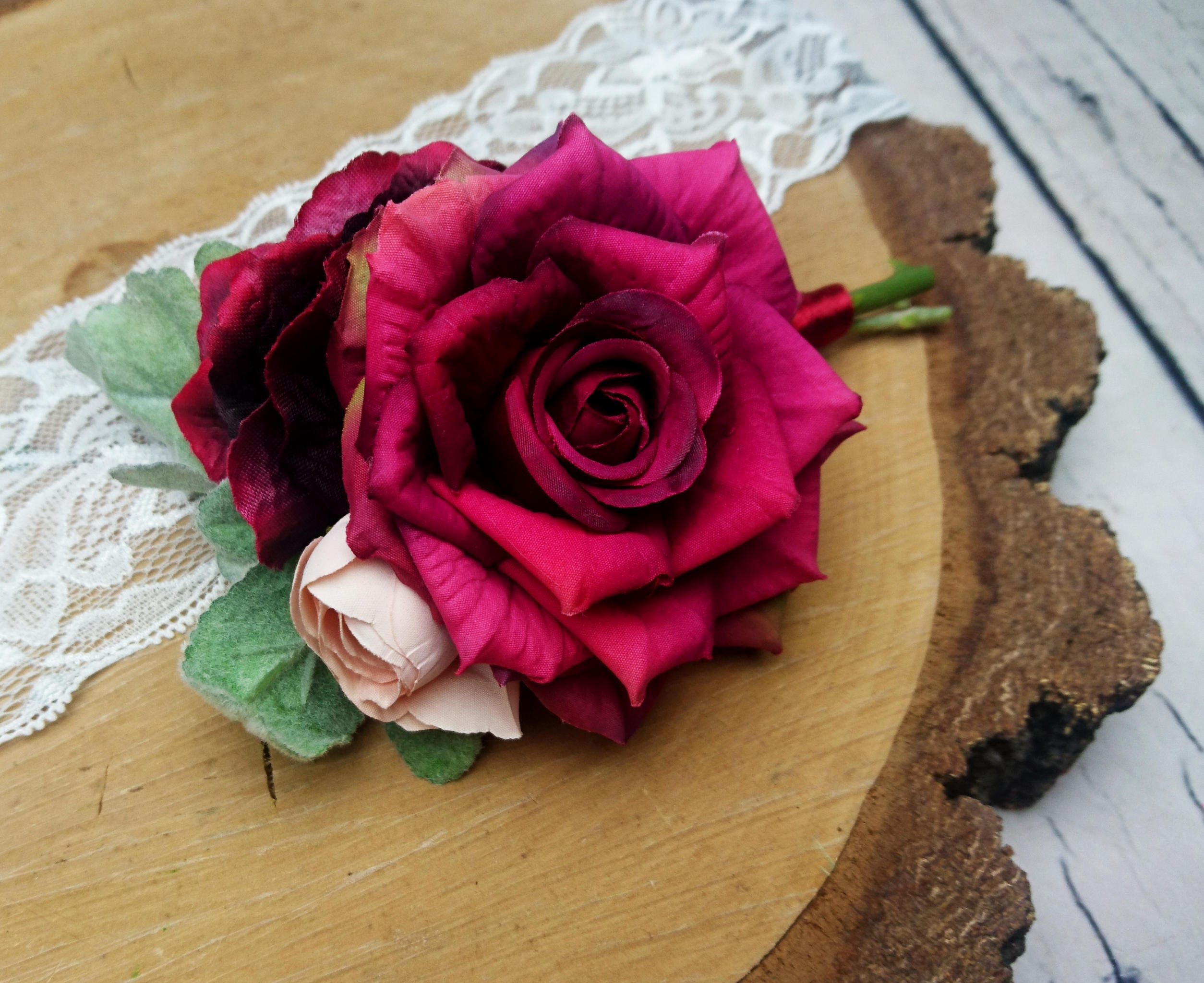 Wedding boutonniere burgundy pink realistic silk flowers dusty ...