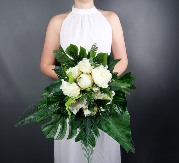 Tropical wedding bouquet with white flowers and greenery etsy image 0 mightylinksfo