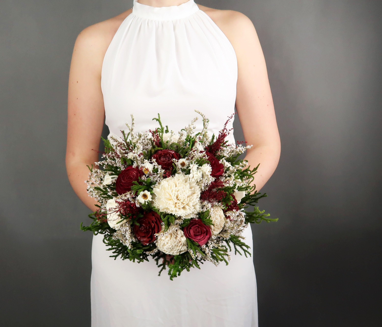 Wedding Flowers In May: Medium Rustic Woodland Wedding BOUQUET Burgundy Deep Red