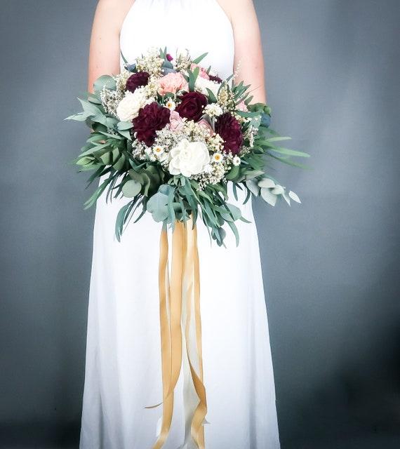 Burgundy ivory and blush pink cascading boho wedding bouquet, sola flowers, preserved eucalyptus baby's breath, elegant long gold ribbons