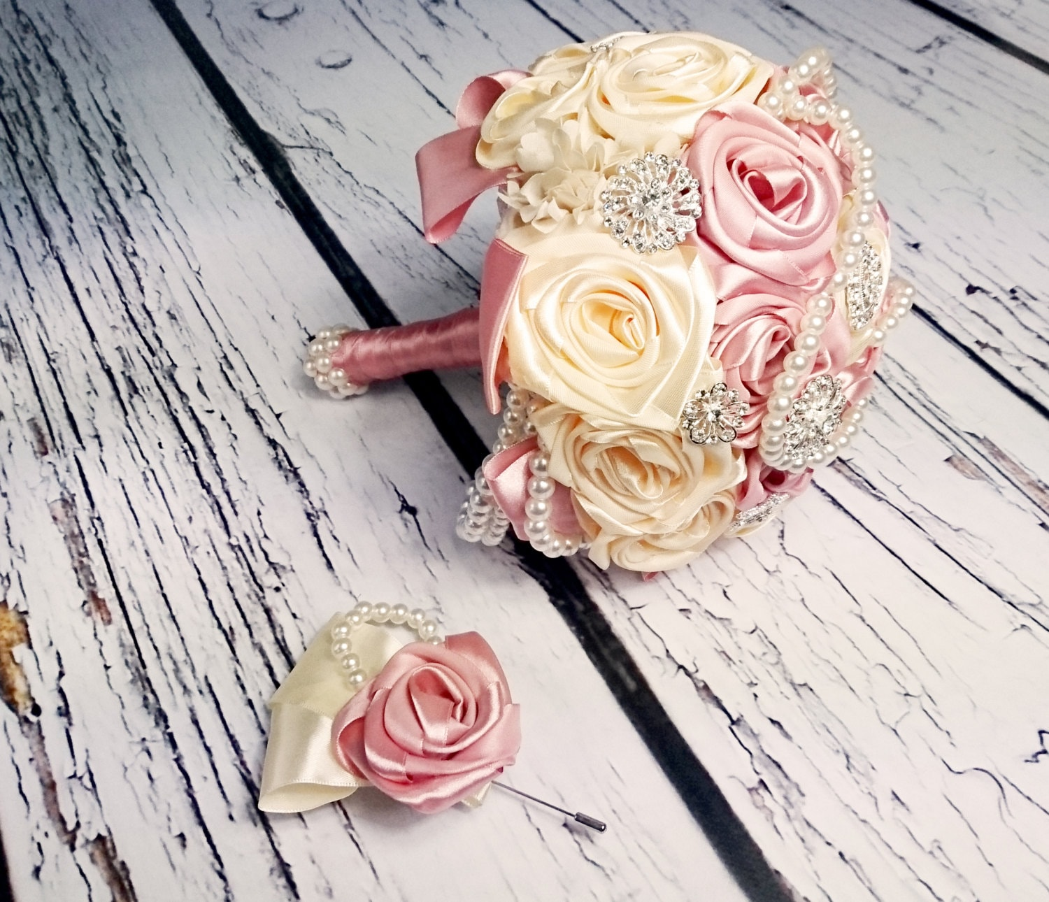 Satin ribbon flowers wedding BOUQUET dusky pink ivory creme pearls ...