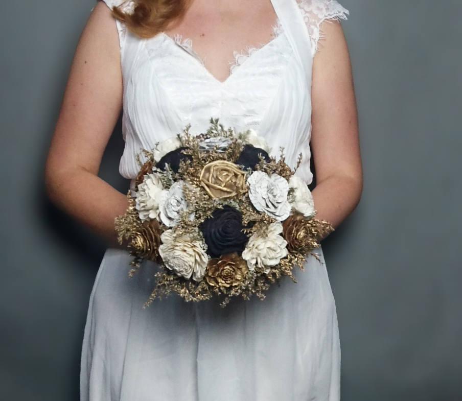 Gold ivory black wedding bouquet bridal elegant retro wedding sola ...