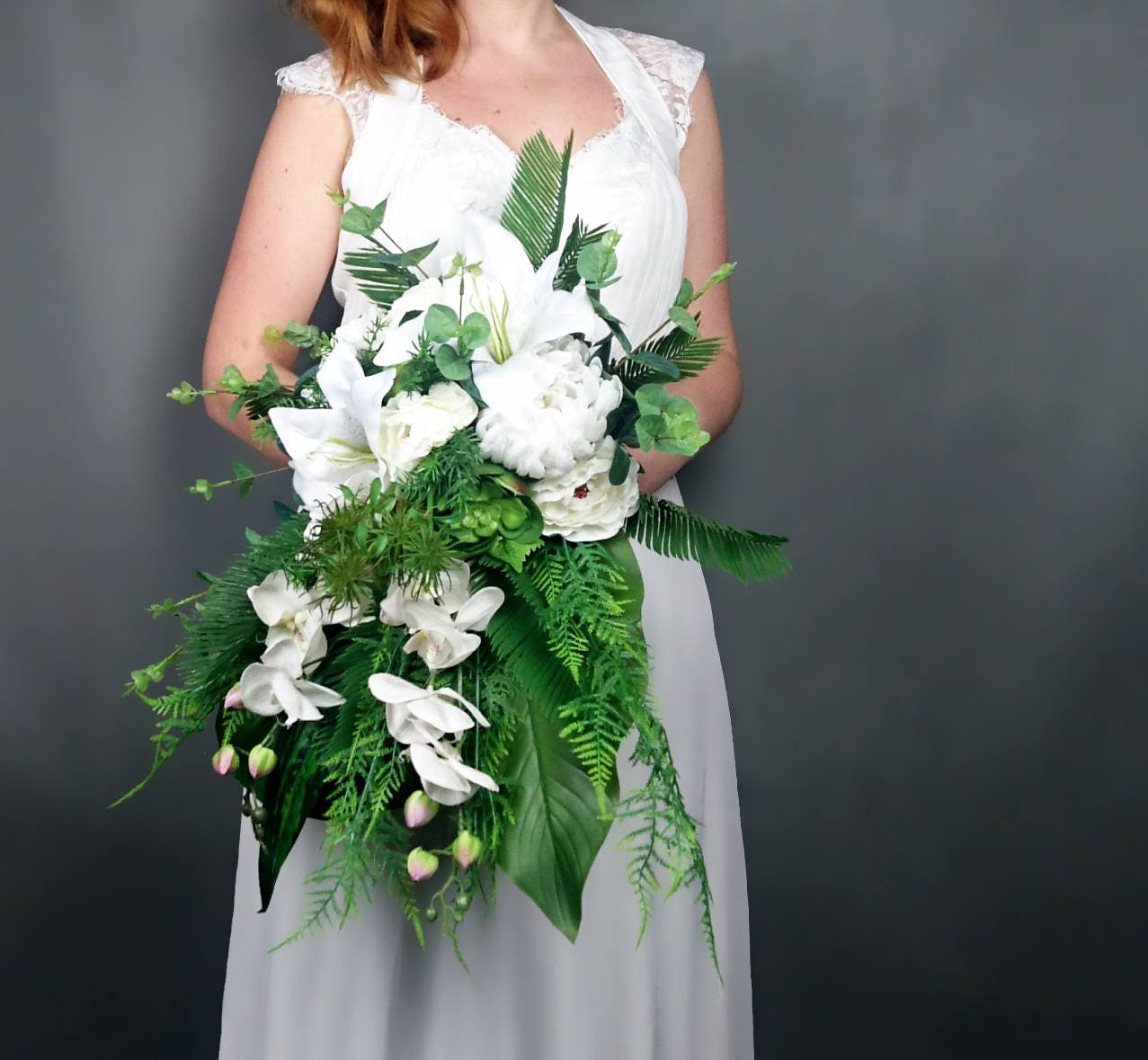 White wedding bouquet tropical greenery leafs orchid lily flowers ...