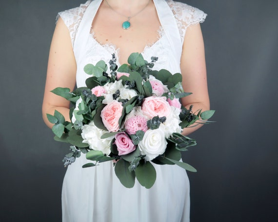 White Blush Pink Bridal Wedding Bouquet Preserved Real Etsy