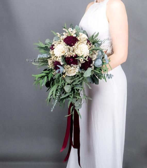 Cascading boho wedding bouquet in burgundy wine and ivory, preserved eucalyptus greenery sola flowers vintage style long ribbons bridal