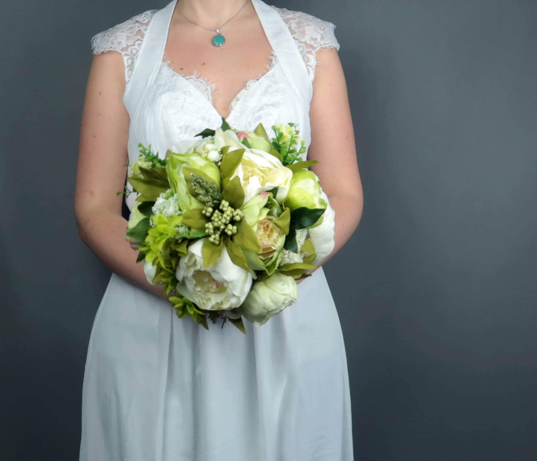 Artificial Flowers Green Wedding Bouquet Silk Flowers Peonies
