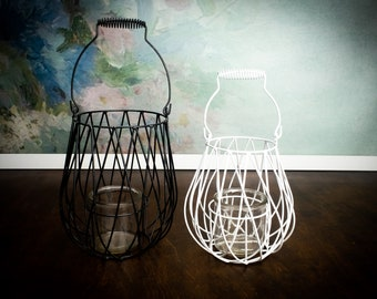 Metal and glass candle lantern, woodland outdoor home shabby chic, geometric wedding centerpiece party decor